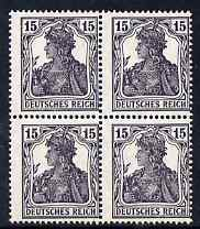 Germany 1914 British Intelligence Forgery of Germania 15pfg in block of 4 unmounted mint