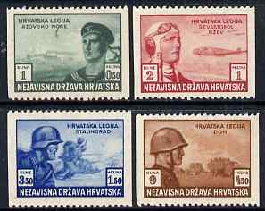 Croatia 1943 Croat Relief Fund set of 4 with vert perfs omitted (perf x imperf) lightly mounted mint