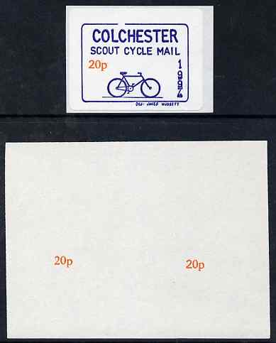 Cinderella - Great Britain 1994 Colchester Scouts Cycle Mail imperf proof of value (20p x 2) as used for self-adhesive label (not included)