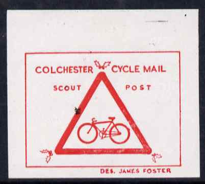 Cinderella - Great Britain 1994 Colchester Scouts Cycle Mail imperf essay proof in red on thin card