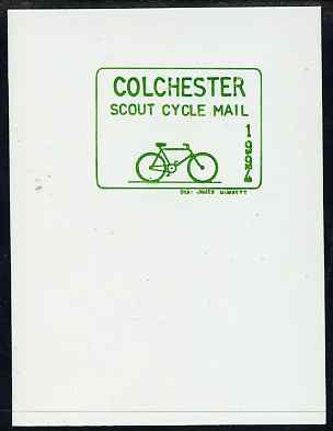 Cinderella - Great Britain 1994 Colchester Scouts Cycle Mail undenominated proof in green on thin card