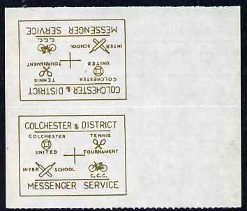 Cinderella - Great Britain 1996 Colchester & District Messenger Service rouletted label (gold on white) showing Football, Tennis, Cricket & Bicycle, tete-beche pair print...