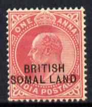 Somaliland 1903 KE7 opt at bottom on 1a carmine with