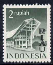 Indonesia - Riau-Lingga 1954 Toradja House 2r grey-green overprinted RIAU unmounted mint as SG 18