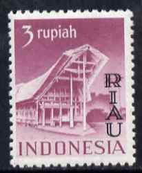 Indonesia - Riau-Lingga 1954 Toradja House 3r purple overprinted RIAU unmounted mint as SG 19