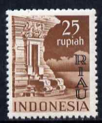 Indonesia - Riau-Lingga 1954 Temple at Panahan 25r red-brown overprinted RIAU unmounted mint as SG 22