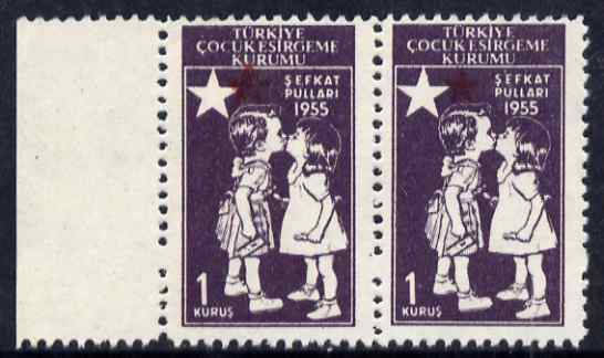 Turkey 1955 Postal Tax - Children Kissing 1k horiz pair with red (Star & Crescent) misplaced unmounted mint but minor wrinkles