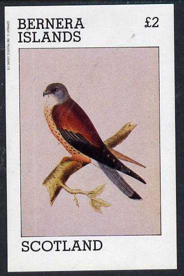 Bernera 1982 Birds of Prey (Kestrel) imperf deluxe sheet (�2 value) unmounted mint