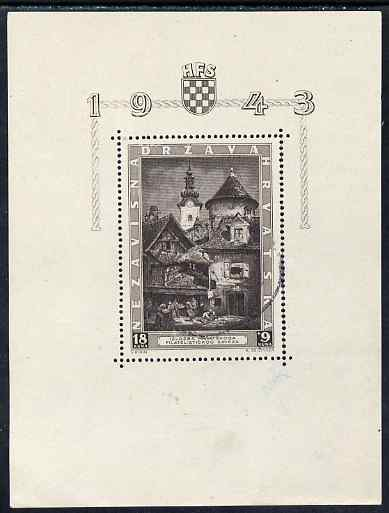 Croatia 1943 Philatelic Exhibition m/sheet cds used but few split perfs at right, SG MS 89a