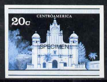 El Salvador 1971 Churches 20c imperf proof in blue & black colours only optd SPECIMEN, as SG 1370 unmounted mint