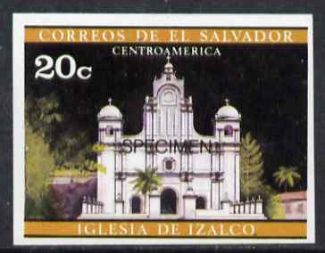 El Salvador 1971 Churches 20c imperf proof in issued colours optd SPECIMEN unmounted mint, as SG 1370