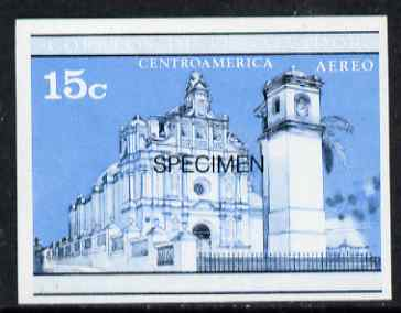 El Salvador 1971 Churches 15c imperf proof in blue & black colours only optd SPECIMEN, as SG 1372 unmounted mint