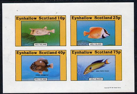 Eynhallow 1981 Fish #02 (Cow Fish, Wrasse, etc) imperf  set of 4 values (10p to 75p) unmounted mint