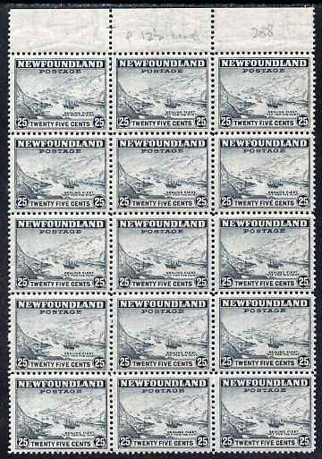 Newfoundland 1941-44 KG6 Sealing Feet 25c line perf 12.5 block of 15 unmounted mint SG 288