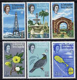 St Kitts-Nevis 1967 Pictorial definitive set of 6 (sideways wmk) unmounted mint, SG166-71