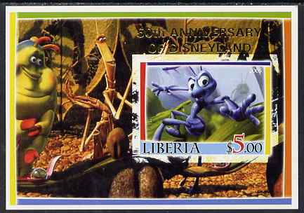 Liberia 2005 50th Anniversary of Disneyland overprint on Bugs life imperf m/sheet #4 unmounted mint