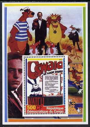 Congo 2005 Disney Movie Posters - Oswald perf souvenir sheet unmounted mint. Note this item is privately produced and is offered purely on its thematic appeal