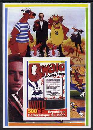 Congo 2005 Disney Movie Posters - Oswald imperf souvenir sheet unmounted mint. Note this item is privately produced and is offered purely on its thematic appeal