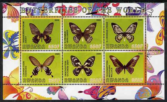 Rwanda 2009 Butterflies perf sheetlet containing 6 values unmounted mint