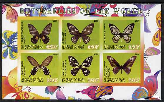 Rwanda 2009 Butterflies imperf sheetlet containing 6 values unmounted mint