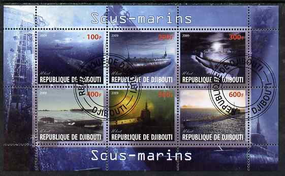 Djibouti 2009 Submarines perf sheetlet containing 6 values fine cto used