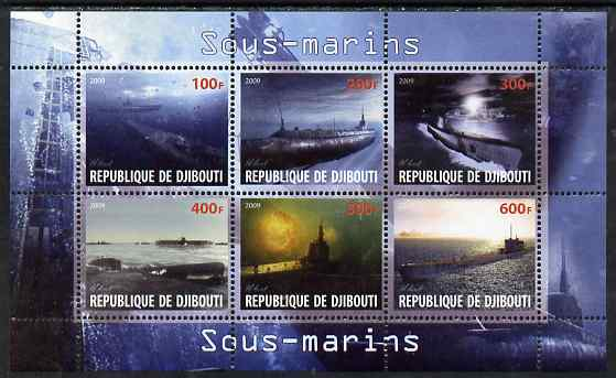 Djibouti 2009 Submarines perf sheetlet containing 6 values unmounted mint