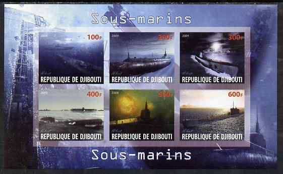 Djibouti 2009 Submarines imperf sheetlet containing 6 values unmounted mint