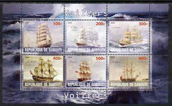 Djibouti 2009 Sailing Ships perf sheetlet containing 6 values unmounted mint