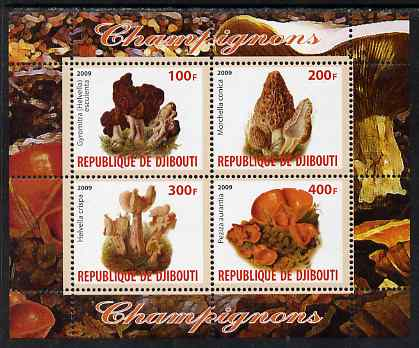 Djibouti 2009 Fungi #1 perf sheetlet containing 4 values unmounted mint