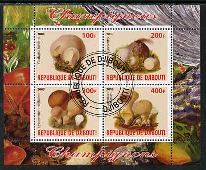 Djibouti 2009 Fungi #2 perf sheetlet containing 4 values fine cto used