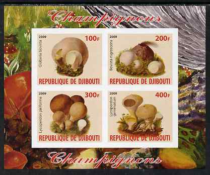 Djibouti 2009 Fungi #2 imperf sheetlet containing 4 values unmounted mint