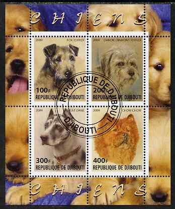 Djibouti 2009 Dogs perf sheetlet containing 4 values fine cto used