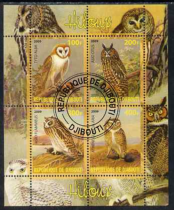 Djibouti 2009 Owls perf sheetlet containing 4 values fine cto used