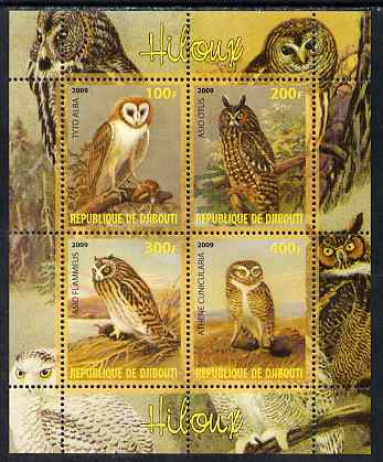 Djibouti 2009 Owls perf sheetlet containing 4 values unmounted mint, stamps on birds, stamps on birds of prey, stamps on owls