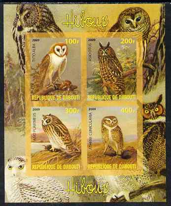Djibouti 2009 Owls imperf sheetlet containing 4 values unmounted mint