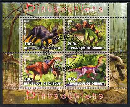 Djibouti 2009 Dinosaurs perf sheetlet containing 4 values fine cto used