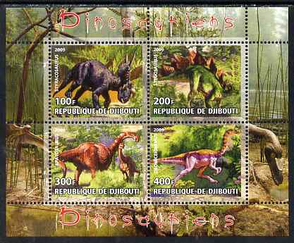 Djibouti 2009 Dinosaurs perf sheetlet containing 4 values unmounted mint