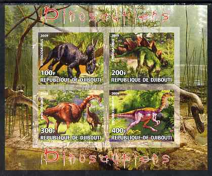 Djibouti 2009 Dinosaurs imperf sheetlet containing 4 values unmounted mint