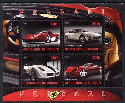 Djibouti 2009 Ferrari cars perf sheetlet containing 4 values unmounted mint