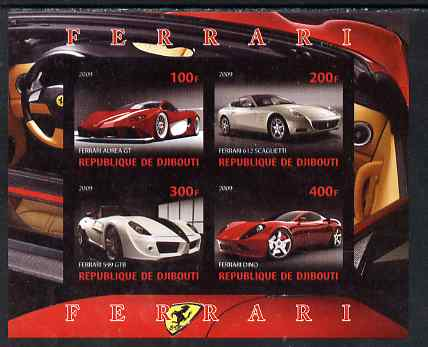 Djibouti 2009 Ferrari cars imperf sheetlet containing 4 values unmounted mint