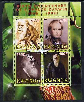 Rwanda 2009 Birth Bicentenary of Charles Darwin perf sheetlet containing 4 values fine cto used