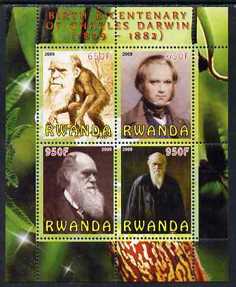 Rwanda 2009 Birth Bicentenary of Charles Darwin perf sheetlet containing 4 values unmounted mint