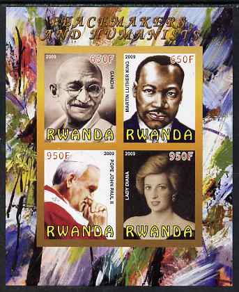 Rwanda 2009 Peacemakers & Humanists #1 imperf sheetlet containing 4 values (Gandhi, Martin Luther King, Pope John Paul & Diana) unmounted mint