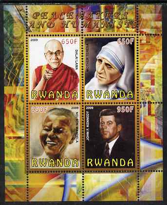 Rwanda 2009 Peacemakers & Humanists #2 perf sheetlet containing 4 values (Dalai Lama, Mother eresa, N Mandela & Kennedy) unmounted mint