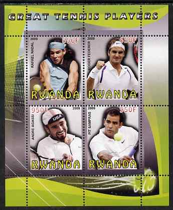 Rwanda 2009 Great Tennis Players perf sheetlet containing 4 values (Federer, Nadal, Agassi & Sampras) unmounted mint