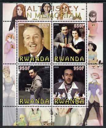 Rwanda 2009 In Memoriam - Walt Disney perf sheetlet containing 4 values unmounted mint