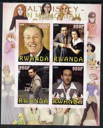 Rwanda 2009 In Memoriam - Walt Disney imperf sheetlet containing 4 values unmounted mint