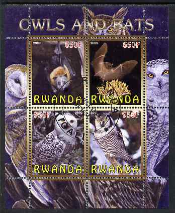 Rwanda 2009 Owls & Bats perf sheetlet containing 4 values fine cto used