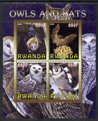 Rwanda 2009 Owls & Bats perf sheetlet containing 4 values unmounted mint