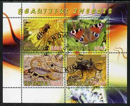 Rwanda 2009 Beautiful Insects perf sheetlet containing 4 values fine cto used